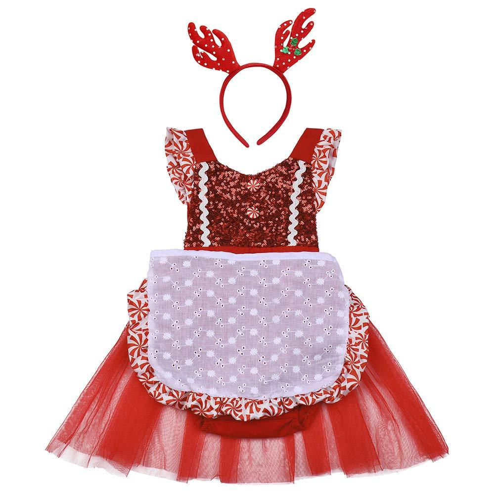 1fdd25554de Newborn Baby Girl Christmas Outfit Sequin Bodysuit Tutu Skirt Apron  Headband Clothes Xmas Holiday Carnival Playwear 3PCS Set 18-24 Months   Amazon.com.au  ...