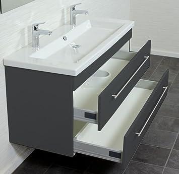 emotion 2ndfloor120cmdoppel000104de waschbecken mit unterschrank holz anthrazit seidenglanz 120 x 56 x 50 - Exklusiven Wasch Becken Mit Uterschrank