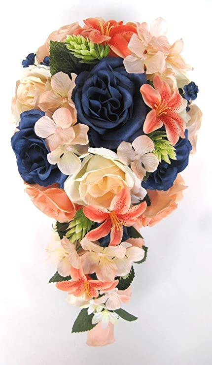 Amazon Com Wedding Bouquets Bridal Silk Flowers Peach Navy Blue
