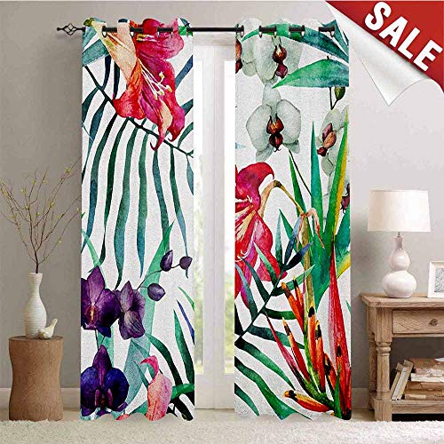 Orchid Tropical Print - Watercolor Flower, Customized Curtains, Tropical Wild Orchid Flowers with Palm Leaves Print Exotic Style Nature, Window Curtain Drape, W72 x L84 Inch Multicolor