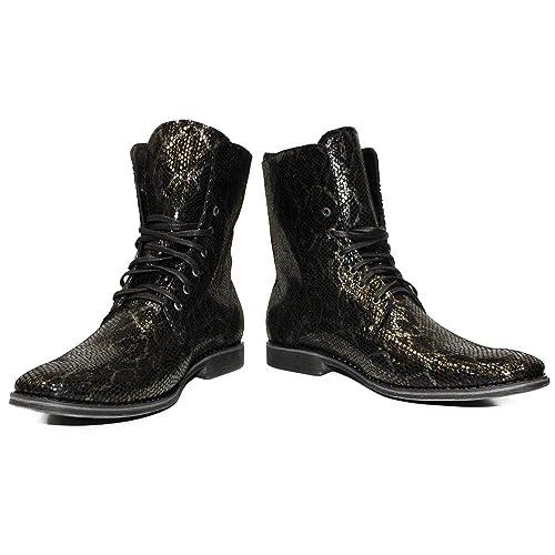 1479d101 Modello Sinoho - Cuero Italiano Hecho A Mano Hombre Piel Color Negro Botas  Altas - Piel de Cabra Cuero Repujado - Encaje: Amazon.es: Zapatos y  complementos