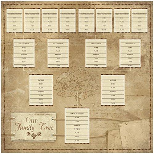KAREN FOSTER Ancestry Paper 12''X12''-Our Family Tree Chart 25 per Pack by KAREN FOSTER