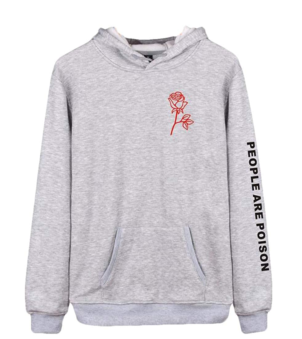 CRYYU Women Pullover Solid Slim Fit Long Sleeve Drawstring Sweatshirt