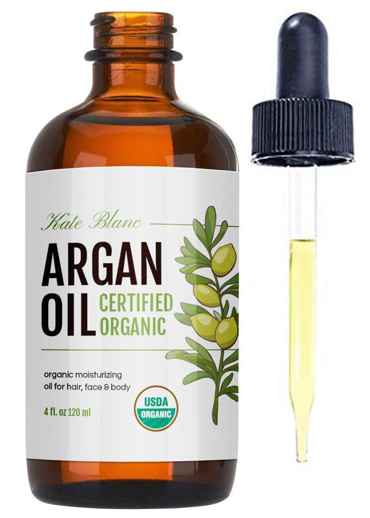 Organic Argan Oil from Kate Blanc. 100% Pure, Coldpressed, and USDA Certified Organic. Stimulate Growth for Dry and Damaged Hair. Skin Moisturizer. Nails Protector (Light 4oz)