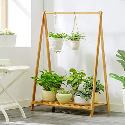 Amazon Com Dulplay Wooden Hanging Plant Stand Multi Layer Plant