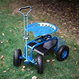 Peach Tree Garden Cart Rolling Work Seat Outdoor Utility Lawn Yard Patio Wagon Scooter for Planting, Adjustable Handle 360 Degree Swivel Seat Blue