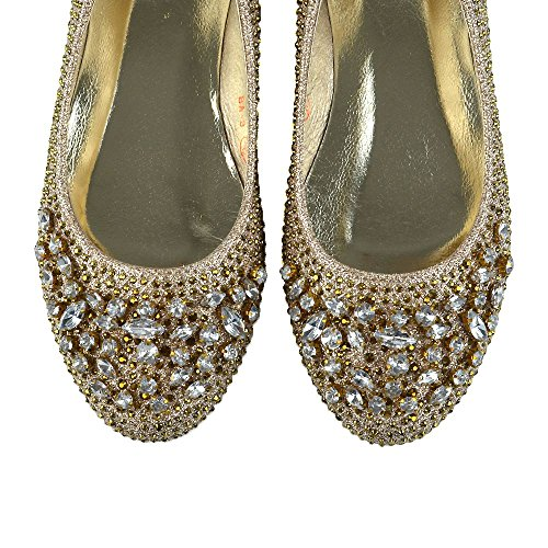 ESSEX GLAM Womens Glitter Ballet Pumps Bridal Flat Diamante Shoes Gold KBA3pMSR