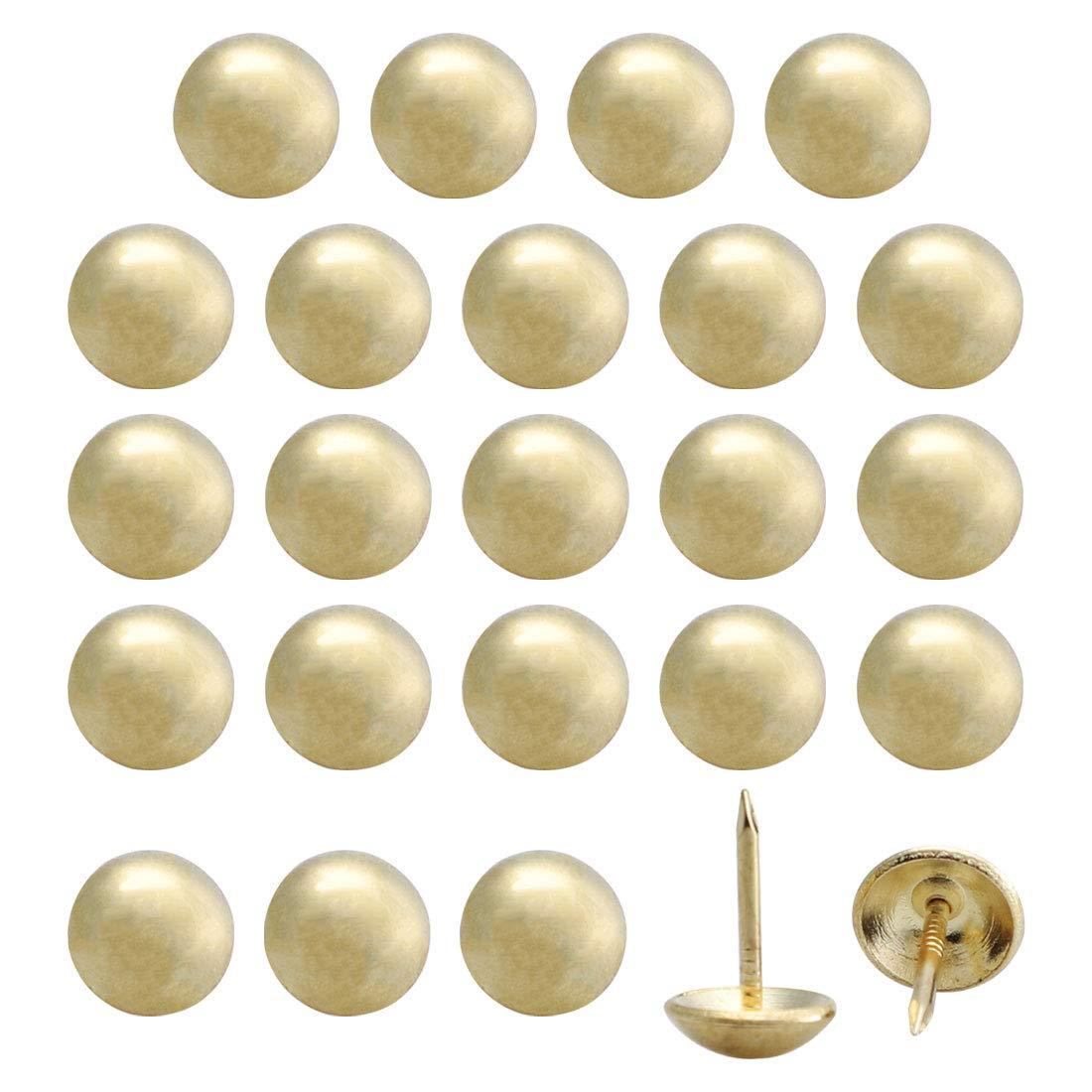 uxcell 24pcs Furniture Tack Nails Pins 14mm Dia Round Head Metal Thumbtack Vintage Style DIY Sofa Headboard Crafts Decorate Gold Tone