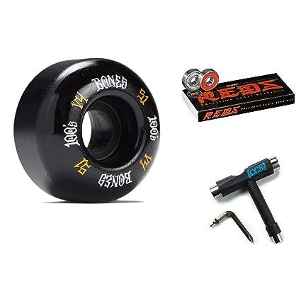 Bones 100s OG #12 V4 Skateboard Wheels White Reds Bearings and CCS Skate Tool