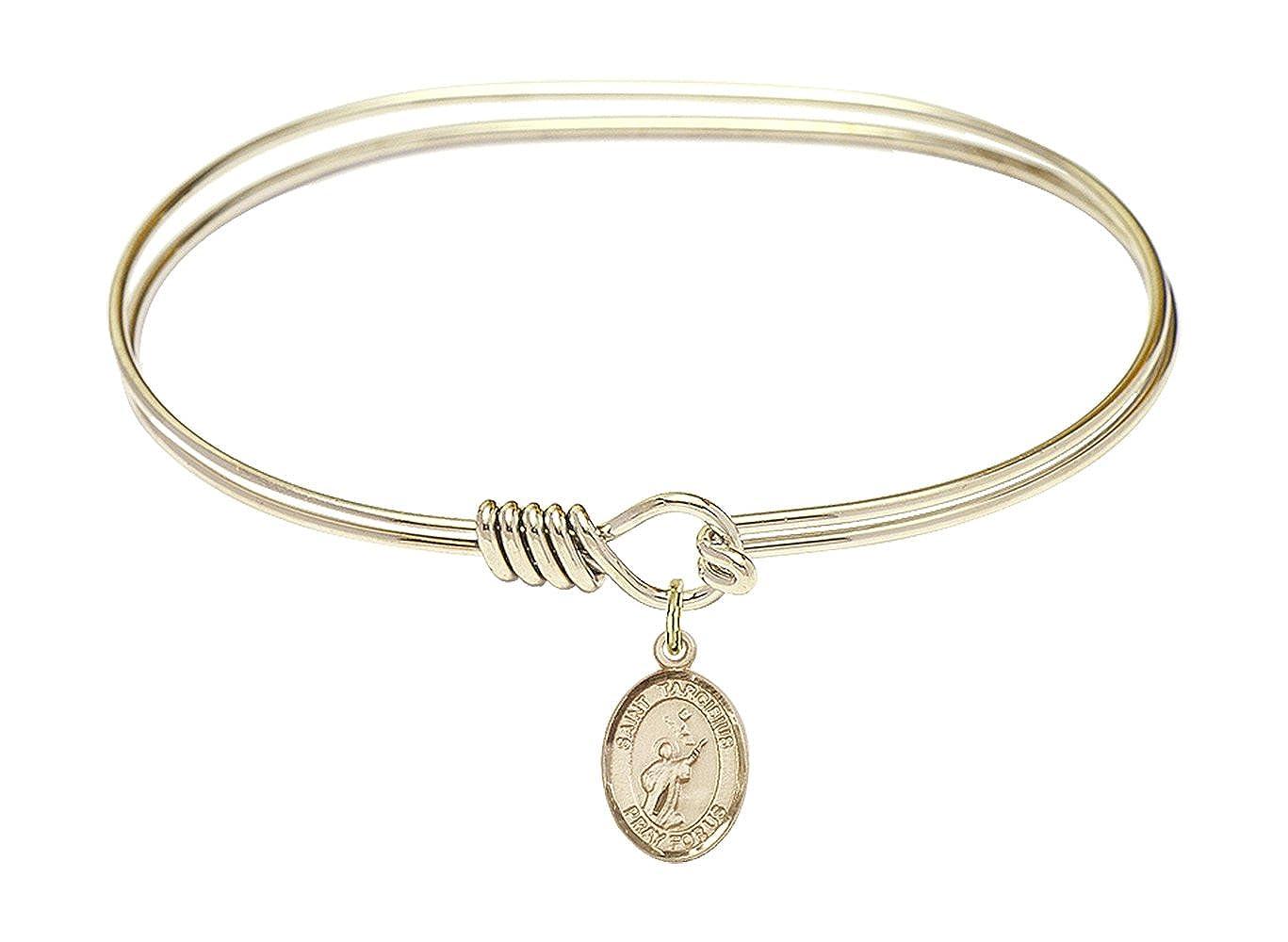 DiamondJewelryNY Eye Hook Bangle Bracelet with a St Tarcisius Charm.