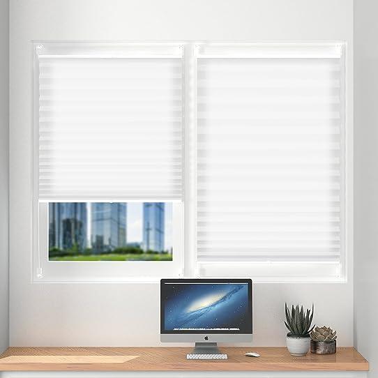 trendy store pliss pour fentre x cm blanc rideau interieur fixation rapide sans perage with. Black Bedroom Furniture Sets. Home Design Ideas
