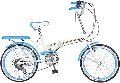 LPsweet Bicicleta Plegable De 20 Pulgadas, Marco De Aluminio Liviano, Guardabarros Delantero Y Trasero Bicicleta De Freno De Disco Doble Ideal para Viajar Y Viajar por La Ciudad,Azul: Amazon.es: Deportes y aire