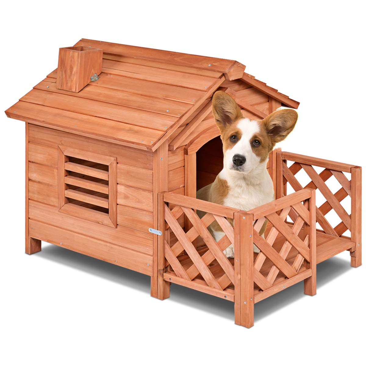 PETSJOY Pet Cat Dog House, Wooden Dog Cat Room Shelter with Porch & Fence, Raised Vent and Balcony for Outdoor & Indoor Use, Feral Insulated Pet House for Small Dogs, Weatherproof Dog Kennel