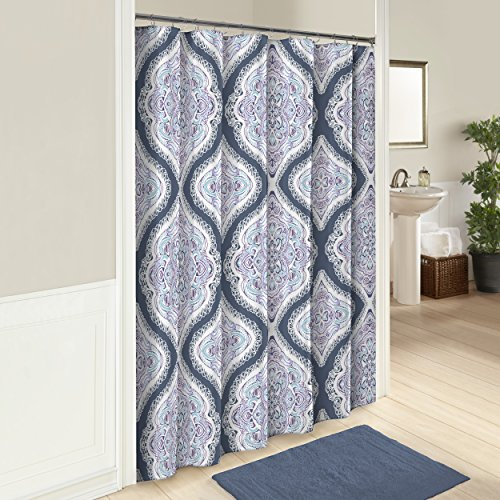 Hill Curtain Cotton (Marble Hill 16247SHWR072MUL Lotus 72-Inch by 72-Inch Shower Curtain, Multi)