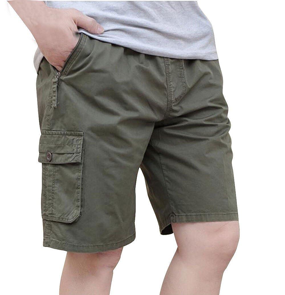 YangguTown YGT Mens Loose Cotton Cargo Shorts Overall Elastic Waist Twill Pants