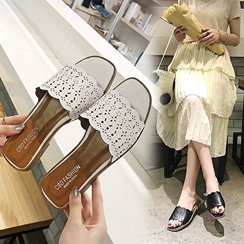 Open Toe Slippers Xia White Fashion Casual Female Heeled Wear women Wild Pingdi Low WHLShoes slippers xw1CqTvnZU