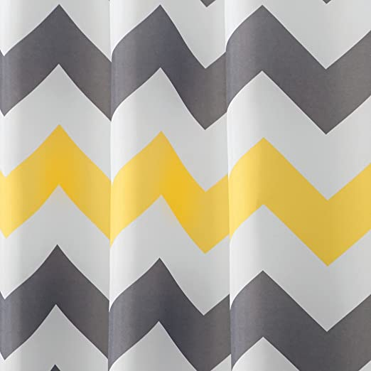 InterDesign Chevron Cortina de ducha de tela, Cortina de baño lavable a máquina y con 12 ojales reforzados, Cortina decorativa con dibujo de zigzag, ...