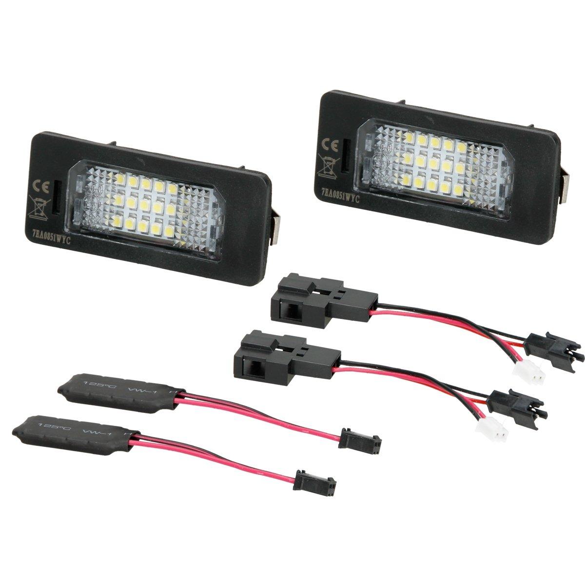 ECD Germany 2 x LED Kennzeichenbeleuchtung mit E-Prü fzeichen 18 SMD Kennzeichen Beleuchtung Kennzeichenleuchte Nummernschild Licht