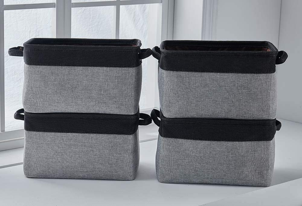 Weixuan Collapsible Large Storage Bins Basket [4-Pack] Canvas Fabric Tweed Storage Organizer Cube Set W/Handles for Nursery Kids Toddlers Home and Office
