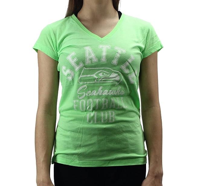 5b9ccc47 Alyssa Milano Women's Seattle Seahawks Football Club Neon Green T ...