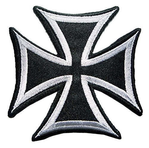 (Big Back Patch Maltese Cross Fire Choppers Celtic Iron On Large Silver Embroidered Patches 7.5