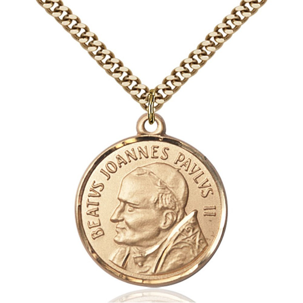 Gold Filled St. John Paul II Pendant 1 x 7/8 inches with Heavy Curb Chain by Bonyak Jewelry Saint Medal Collection