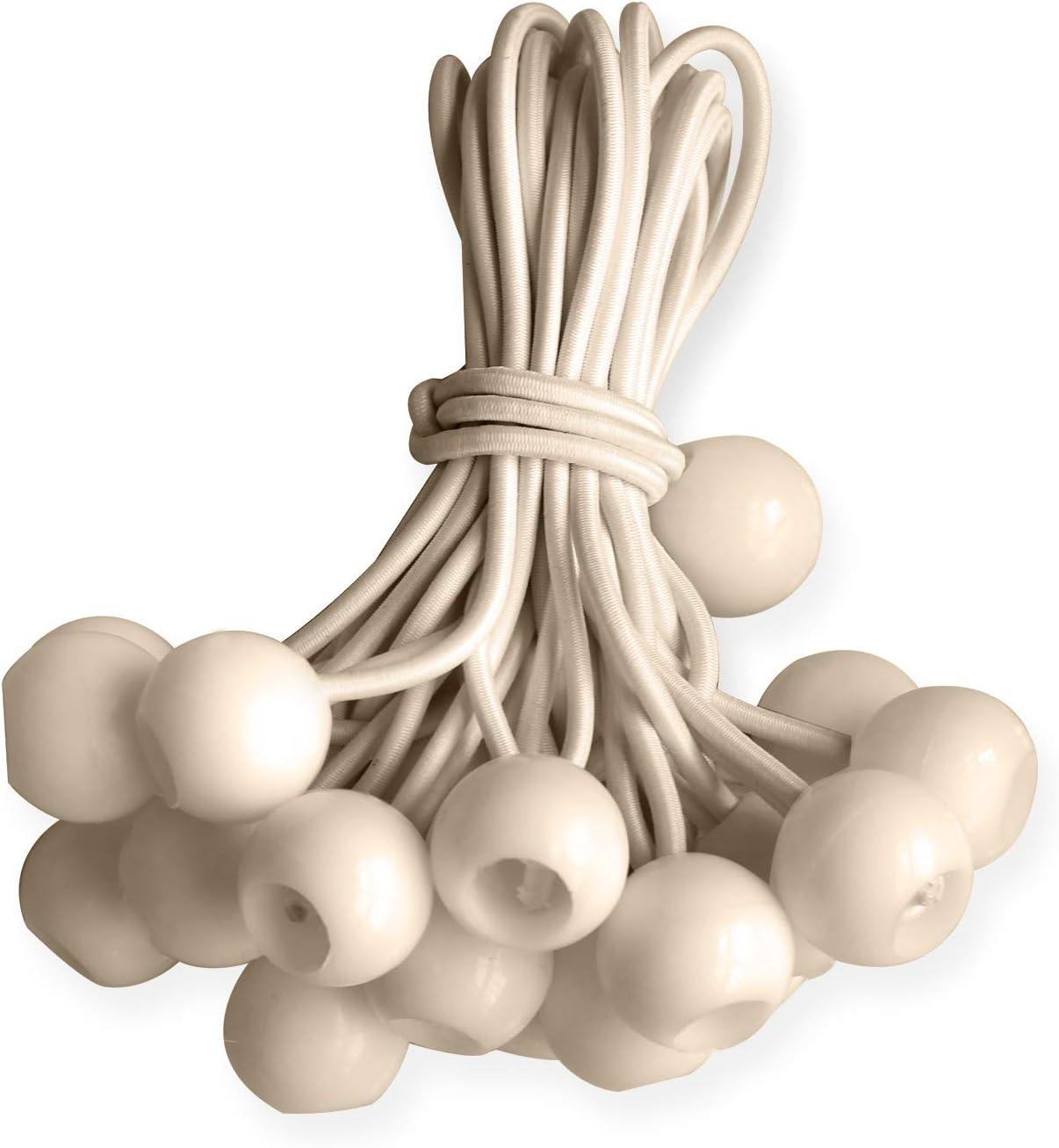 ABCCANOPY Heavy Duty Ball Bungee Canopy Tarp Tie Down Cord Elastic String Ball Bungee tarp Ball Ties 9 Beige 25pcs