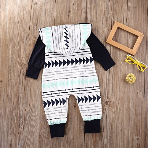 Baby Boys Girls Jumpsuit Hooded Romper Outfit Long Sleeve Onesie With Pocket (0-9Months, White)