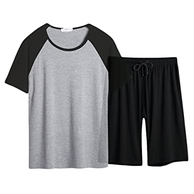 Mens Summer Pajamas Set Adult Knit Cotton Raglan Sleepwear Shorts Sleeve  Loungewear PJS at Amazon Men s Clothing store  9525d48a2