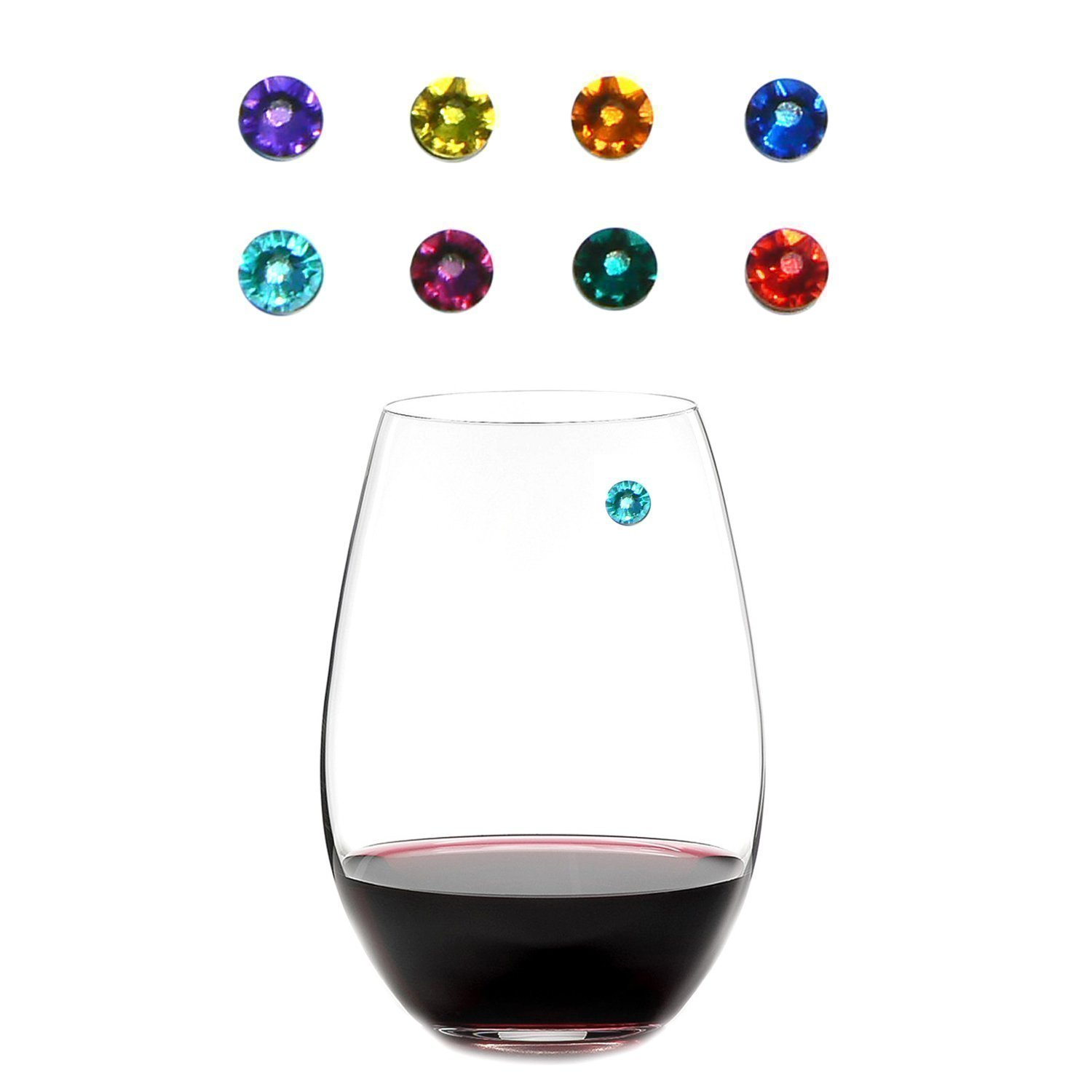 Simply Charmed Magnetic Wine Charms, The Vibrant Collection Set of 8 Glass Markers