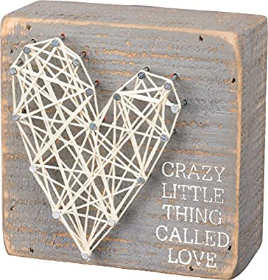 Primitives by Kathy Crazy Little Thing Called Love String Art Box Decorative Sign