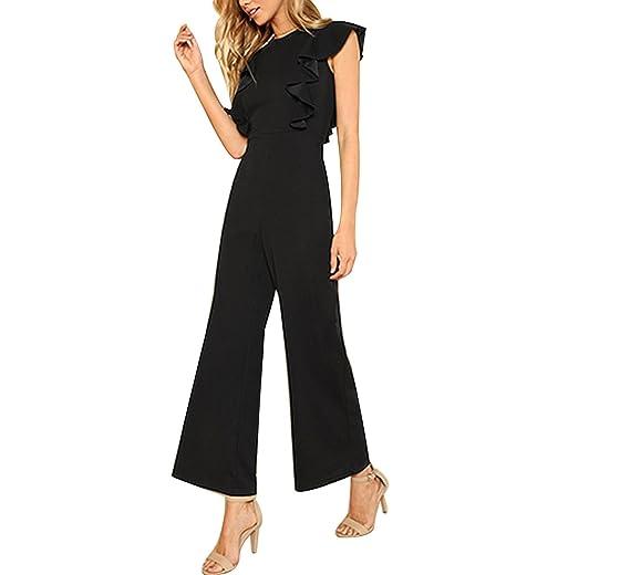 a9698d2d1af8 MASCHERANO Women Round Neck Sleeveless Summer Jumpsuit Office Work Wear  Elegant Wide Leg Jumpsuit