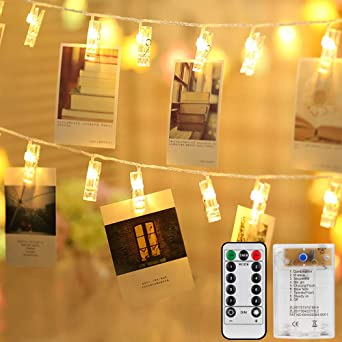 Weihnachten JOLALIA 5M 40LED Foto Clip mit 40 Klammern Batteriebetrieben Stimmungsbeleuchtung Wand LED Fotoclips/f/ür Wohnzimmer LED Foto Lichterkette Hochzeiten,Innen Deko Warmwei/ß
