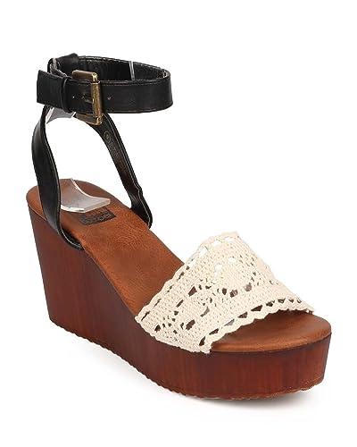 5e9a2f345fd Women Mix Media Peep Toe Crochet Wooden Wedge Sandal EB13 - Black
