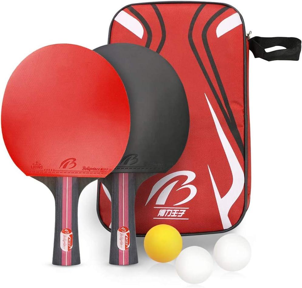 YZU Juego de Tenis de Mesa portátil, Juego de Ping Pong, Incluye 2 Raquetas, 3 Pelotas de Ping Pong, Raqueta de Tenis de Mesa para Actividades Familiares, Club Escolar y Deportivo