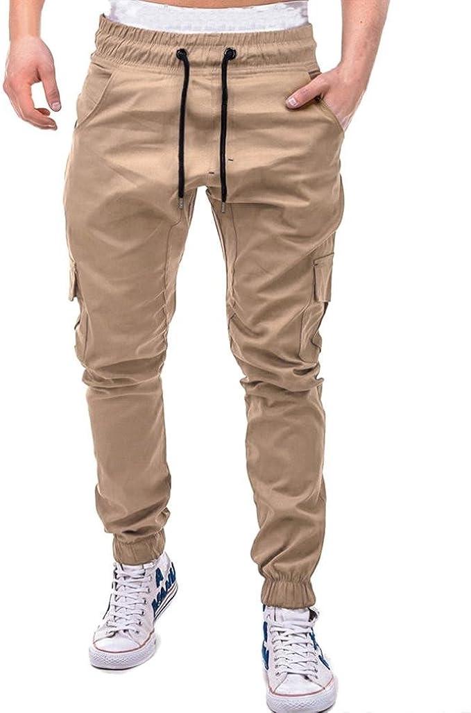 Pantaloni Sportivi Uomo,Moda Uomo Sport Puro Colore Bendare Sciolto Pantaloni della Tuta Coulisse Ansimare Cachi 4, XXXL