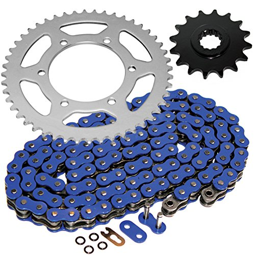 (Caltric O-Ring Blue Drive Chain & Sprockets Kit Fits YAMAHA R6 YZFR6 YZF-R6 2003-2005)