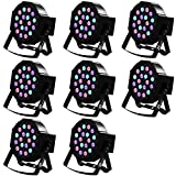 Missyee Uplighting for Wedding, 18 Leds RGB Par Lights, Sound Activated DMX 512 Controller, Dj Stage Lights for Birthday Party Wedding Bar Club KTV Home Festival (8 packs)