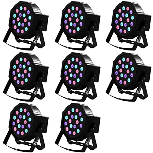 Missyee Uplighting for Wedding, 18 Leds RGB Par Lights, Sound Activated DMX 512 Controller, Dj Stage Lights for Birthday Party Wedding Bar Club KTV Home Festival (8 packs) by Missyee