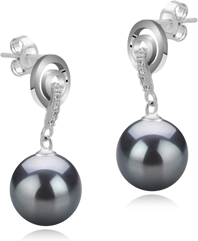 4 Pairs 8-9MM Genuine Natural Freshwater Pearl Sterling Silver Stud Earrings