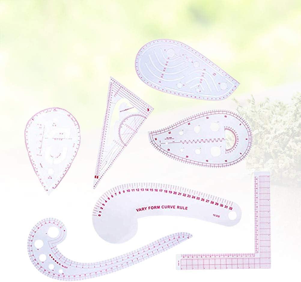 SUPVOX Patr/ón de dise/ño de palos de moda Reglas Set DIY regla de costura herramientas de medici/ón para el hogar a medida 7pcs