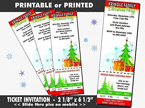 Tree Trimming Christmas Party Ticket Invitation, Printable or Printed Option ()