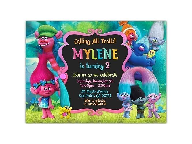 amazon com trolls birthday party invitations any age custom handmade