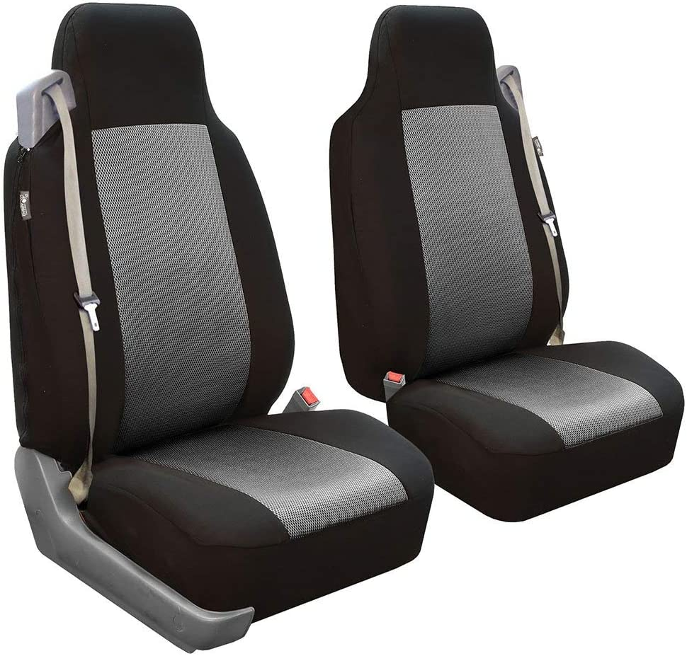 FH Group FH-FB302102 All Purpose Flat Cloth Built-in-Seat Belts Car Seat Covers for Non-Detachable headrests, Gray/Black Color- Fit Most Car, Truck, SUV, or Van