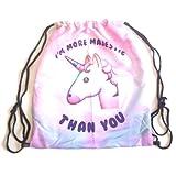 Cozyrom ユニセックス カラフル ユニコーン子供用 女の子 ユニコーン 運動用 旅行用 部活用 日常用 収納バッグ 巾着袋 ナップサック (H18)