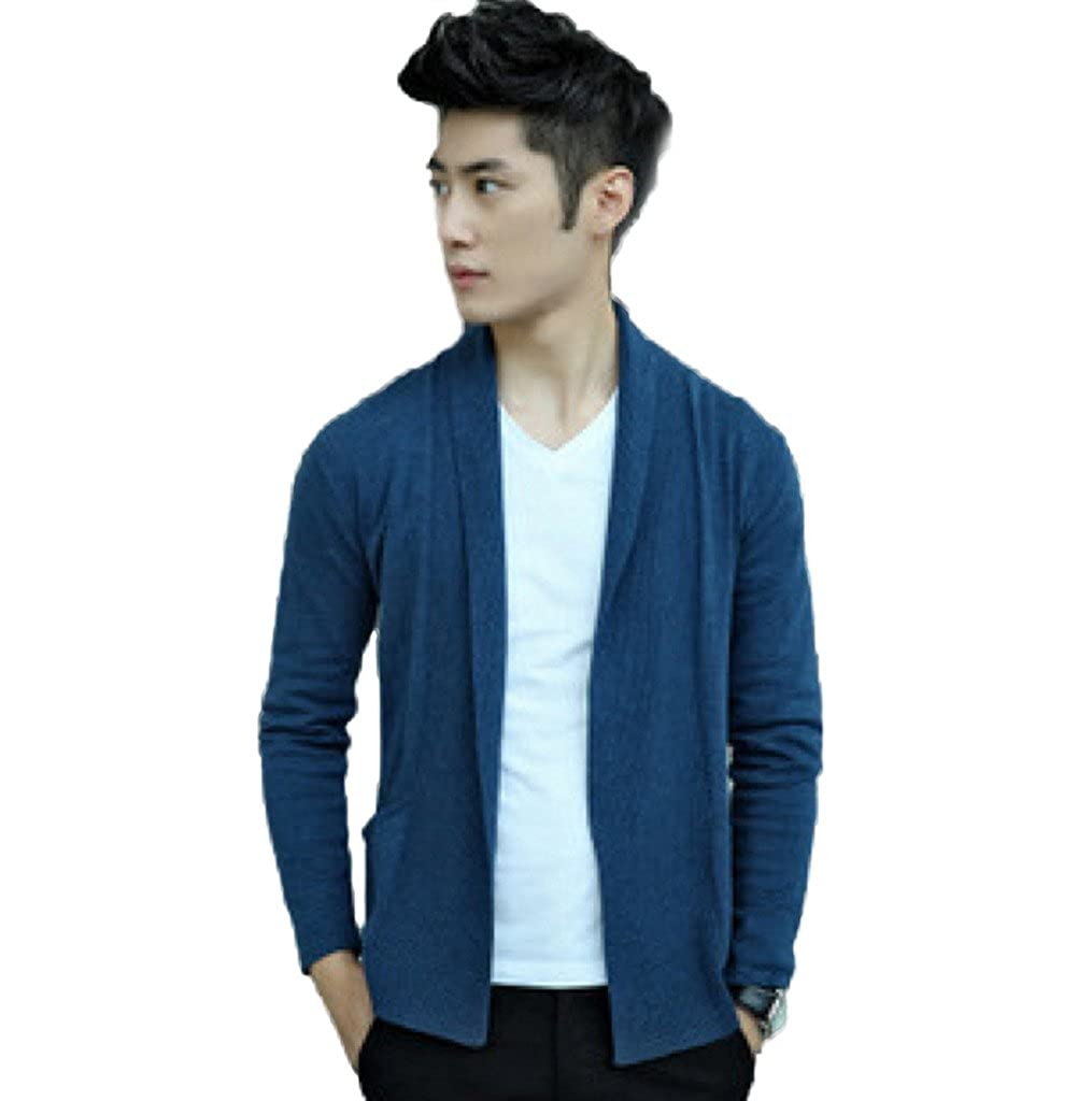 Elonglin Mens Casual Knitted Cardigan Shawl Collar Sweater Open Front EL.MY0193