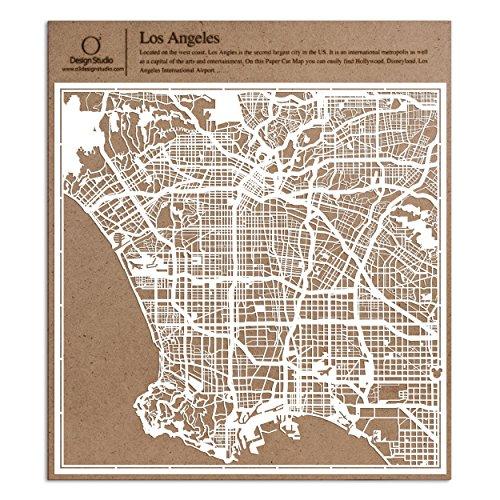 O3 DESIGN STUDIO Los Angeles Paper Cut Map White 12x12 inches Paper Art