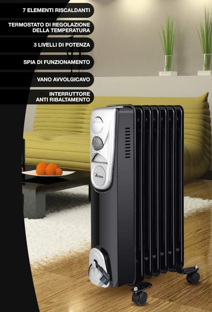 Ardes ar4r07b Radiador de aceite el/éctrico con 7/Elementos 3/Potenze con compartimiento enrollacables Negro//Silver 1500/W