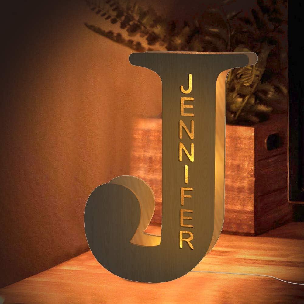Custom LED Night Light, Personalized Wood Letter Wall Light Engraved Name Letter Lamp Home Decor Gift for Kids Girlfriend Boyfriend Mom Families Christmas Birthday Wedding Wall Room Bedside Decor - J