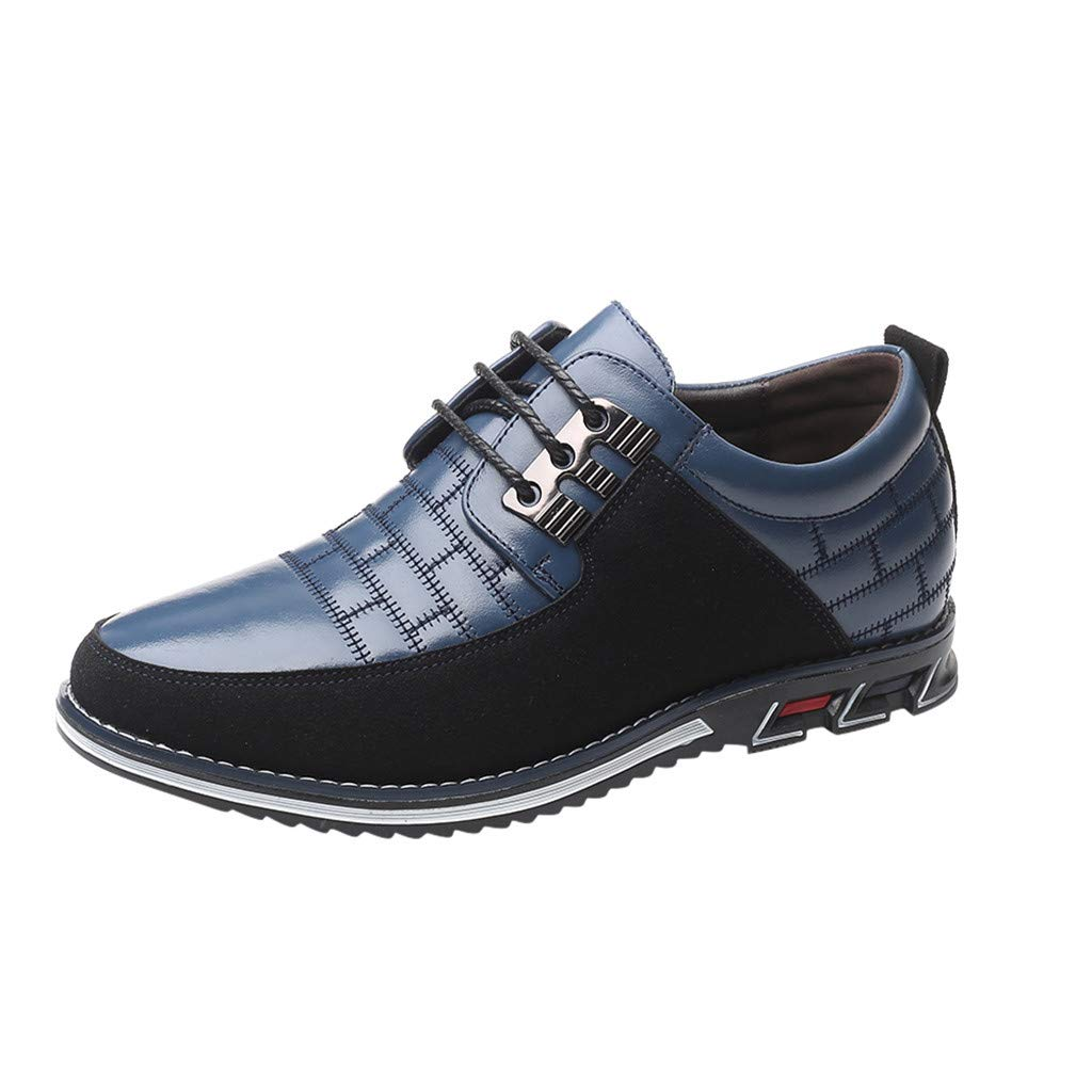 TIFENNY Fashion Business Flat Leather Shoes Men's Trend Patchwork Round Toe Lace-Up Shoes Business Boots by TIFENNY_Shoes